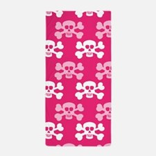 Hot Pink and White Skull and Cross Bones Beach Tow