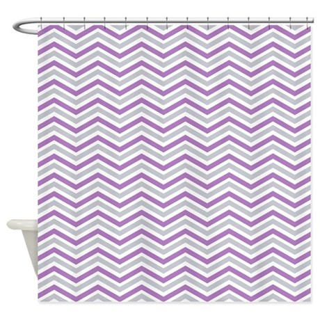 Purple Gray White Chevron Stripes Shower Curtain By