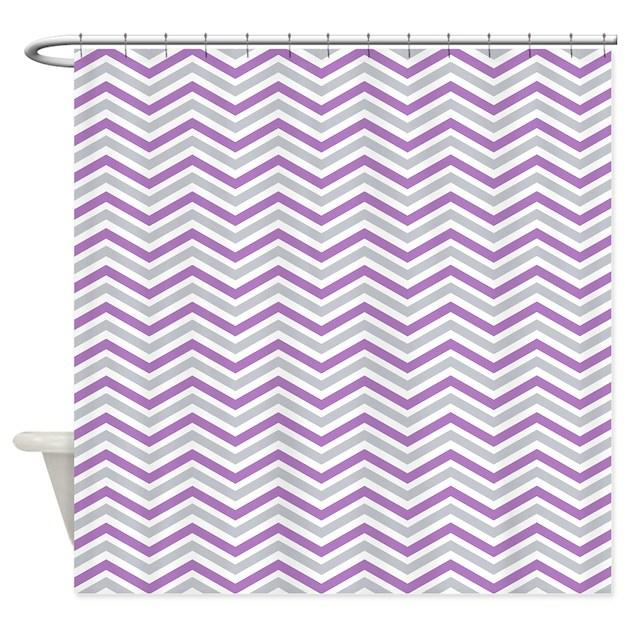 Purple Gray White Chevron Stripes Shower Curtain By ClipArtMEGAmart