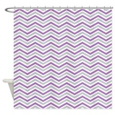 Purple, Gray, White Chevron Stripes Shower Curtain