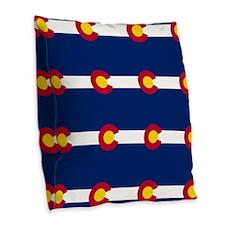Colorado Flag Pattern Burlap Throw Pillow