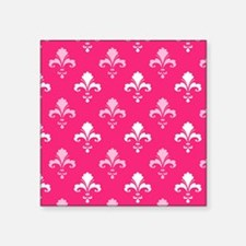 Hot Pink and White Fleur de lis Sticker