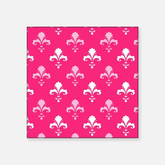 Hot Pink and White Fleur de lis Sticker