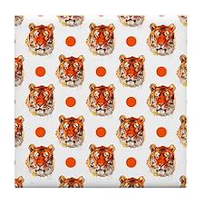 Tiger Pattern, Orange White Polka Dots Tile Coaste