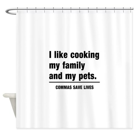 Commas save lives shower curtain by schoolgeek for Shower curtain savers
