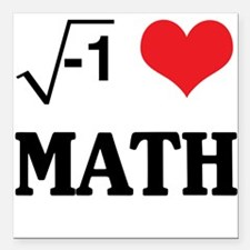 "I heart math Square Car Magnet 3"" x 3"""