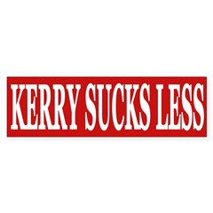 Kerry Sucks Less (bumper sticker)