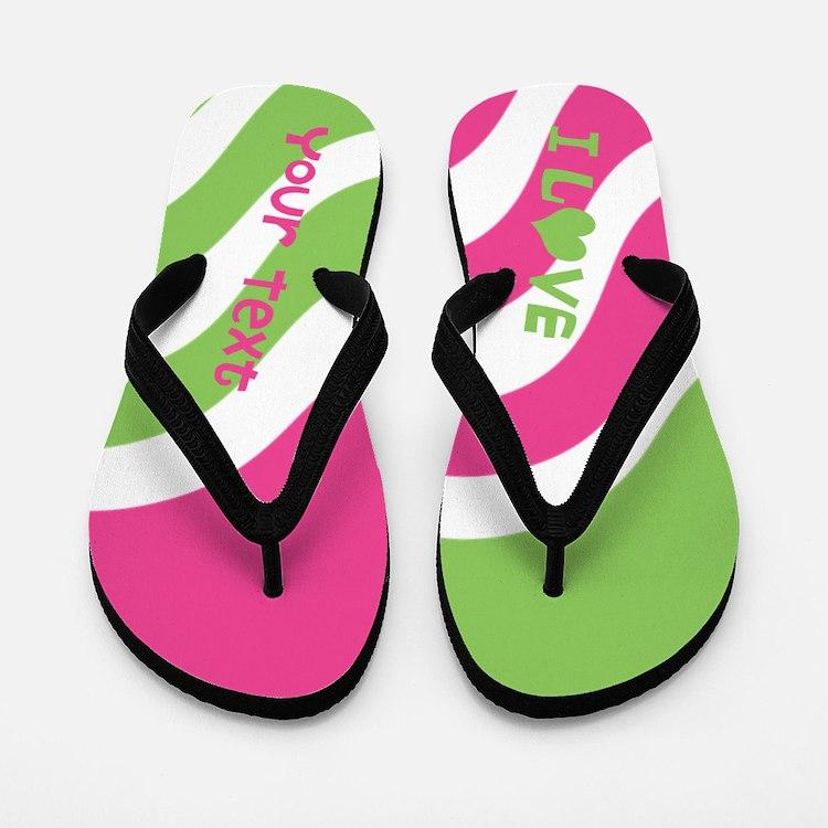 Wiggly Pink Green I Heart Custom Text Flip Flops
