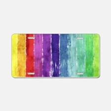 Geometric Stripes Watercolor Aluminum License Plat