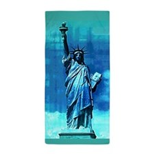 Statue Of Liberty Blue Beach Towel