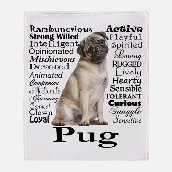 Pug Traits Throw Blanket