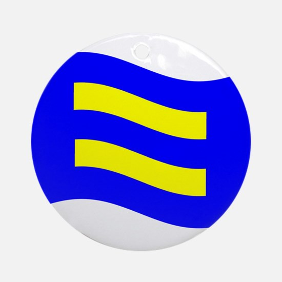 Waving Human Rights Equality Flag Ornament (Round)