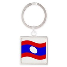 Waving Laos Flag Keychains