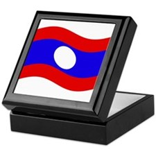 Waving Laos Flag Keepsake Box