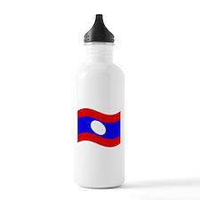 Waving Laos Flag Water Bottle