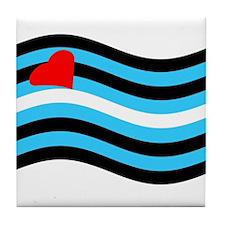 Waving Leather Flag Tile Coaster