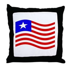 Waving Liberia Flag Throw Pillow