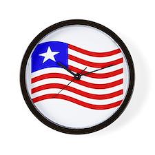 Waving Liberia Flag Wall Clock
