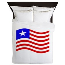 Waving Liberia Flag Queen Duvet