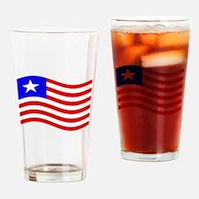 Waving Liberia Flag Drinking Glass
