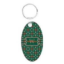 Silver Green Pattern Person Keychains
