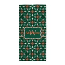 Silver Green Pattern Personalized Beach Towel