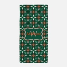 Silver Green Pattern Personalized Beach Towel