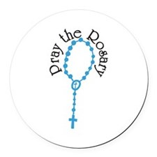 Pray The Rosary Round Car Magnet
