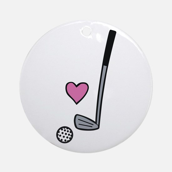 Heart Golf Ball Ornament (Round)
