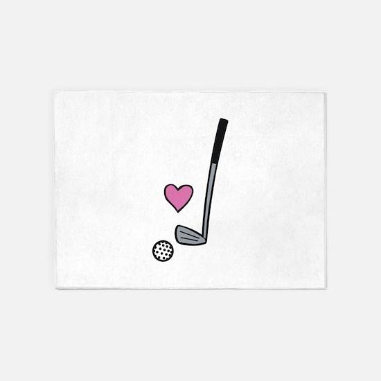 Heart Golf Ball 5'x7'Area Rug