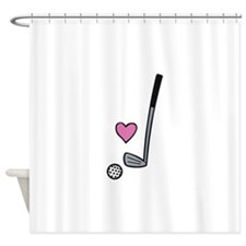 Heart Golf Ball Shower Curtain