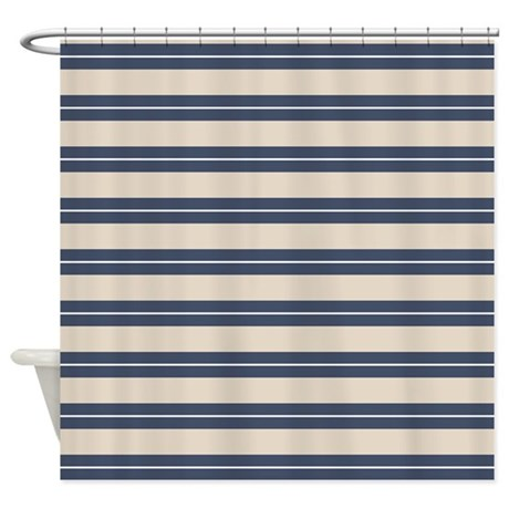 Blue Tan Stripes Pattern Shower Curtain By