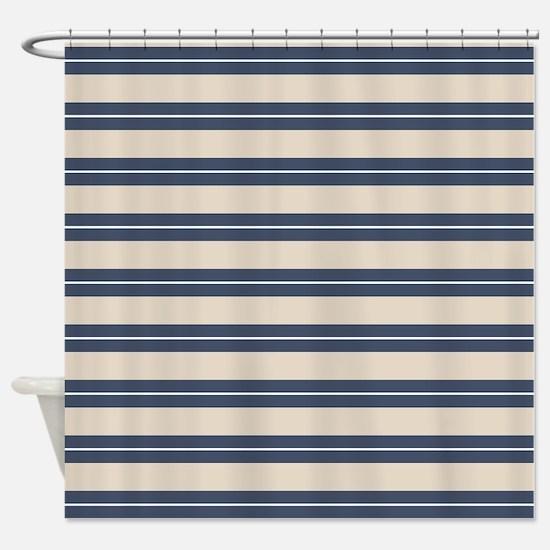 Blue Tan Stripes Pattern Shower Curtain
