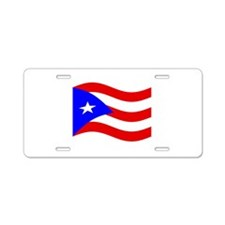 Waving Puerto Rico Flag Aluminum License Plate