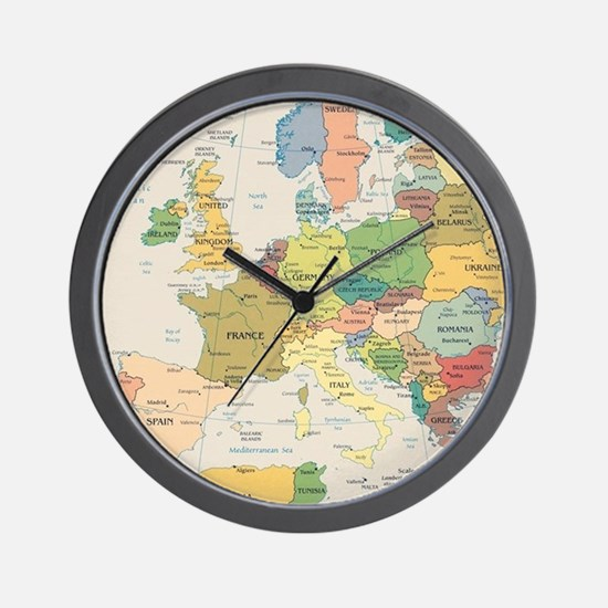 Europe Map Wall Clock