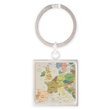 Europe Map Square Keychain