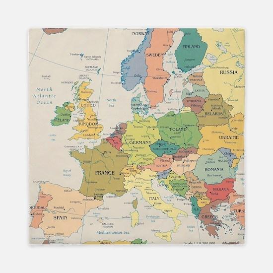 Europe Map Queen Duvet