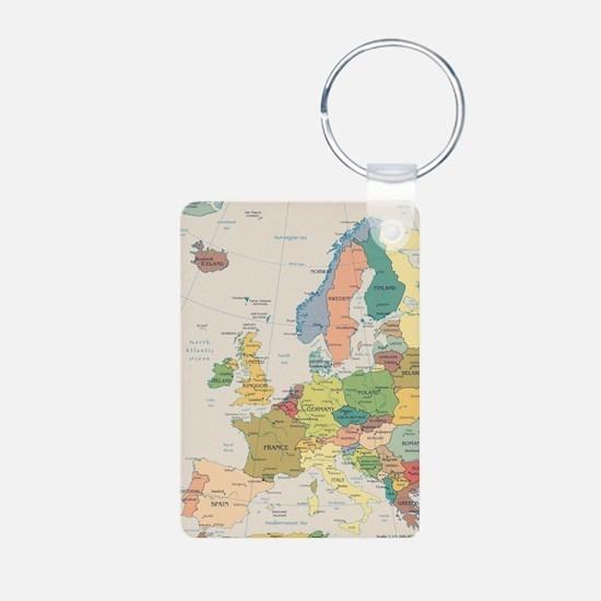 Europe Map Aluminum Photo Keychain