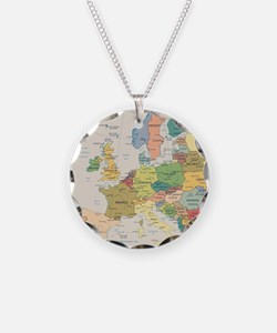 Europe Map Necklace Circle Charm