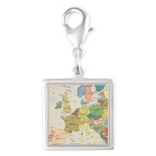 Europe Map Silver Square Charm