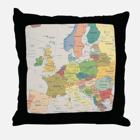 Europe Map Throw Pillow