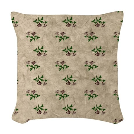 Shabby Chic Floral Woven Throw Pillow by BedTimeDesigns