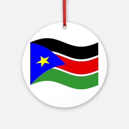 Waving South Sudan Flag Ornament (Round)