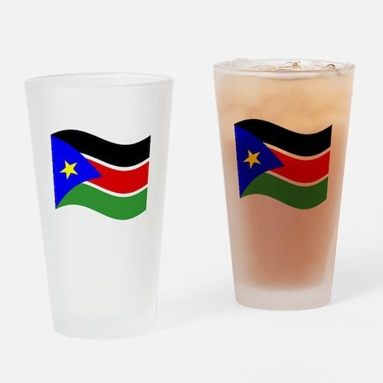 Waving South Sudan Flag Drinking Glass