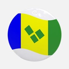 Waving St. Vincent Flag Ornament (Round)