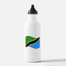 Waving Tanzaznia Flag Water Bottle