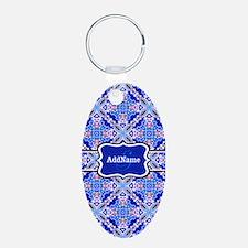 Monogrammed Blue Background Keychains