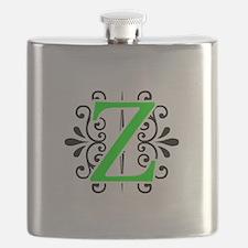 MONOGRAM Z FLORESCENT GREEN & BLACK Flask