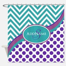 Teal Violet Chevron Dots Personaliz Shower Curtain