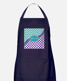 Teal Violet Chevron Dots Personalized Apron (dark)